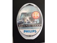 PHILLIPS H4 X-TREME POWER HALOGEN HEADLIGHT BULBS 80% MORE LIGHT RACING PERFORMANCE TEDDINGTON