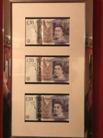 £20 notes 3 consecutive 1st issues aa