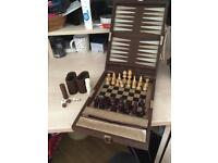 Backgammon , chess, draughts set in suedette case