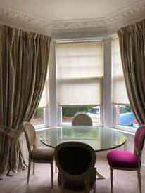 Large bay window Victorian curtains with thermal lining