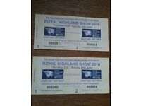 Two adult Royal Highland Show tickets