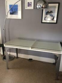 Ikea Glass topped desk (Vika Gruvan with Fintorp metal legs)