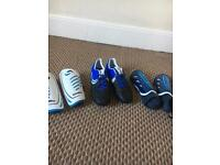 Men's football boots and shin pads size 8
