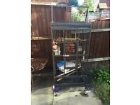 Large parrot cage with play table