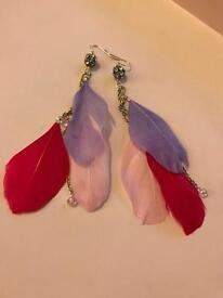 Feather earrings (Pink / Purple)