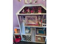 Wooden dolls house , barbie car , furniture