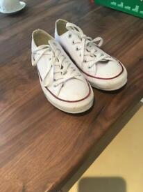 White converse leather shoes
