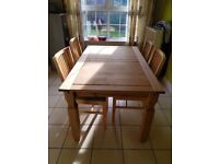 Wood Dining Table & 4 Upholstered Base Chairs