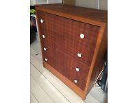 Veneer mid century 4 draw chest of drawers