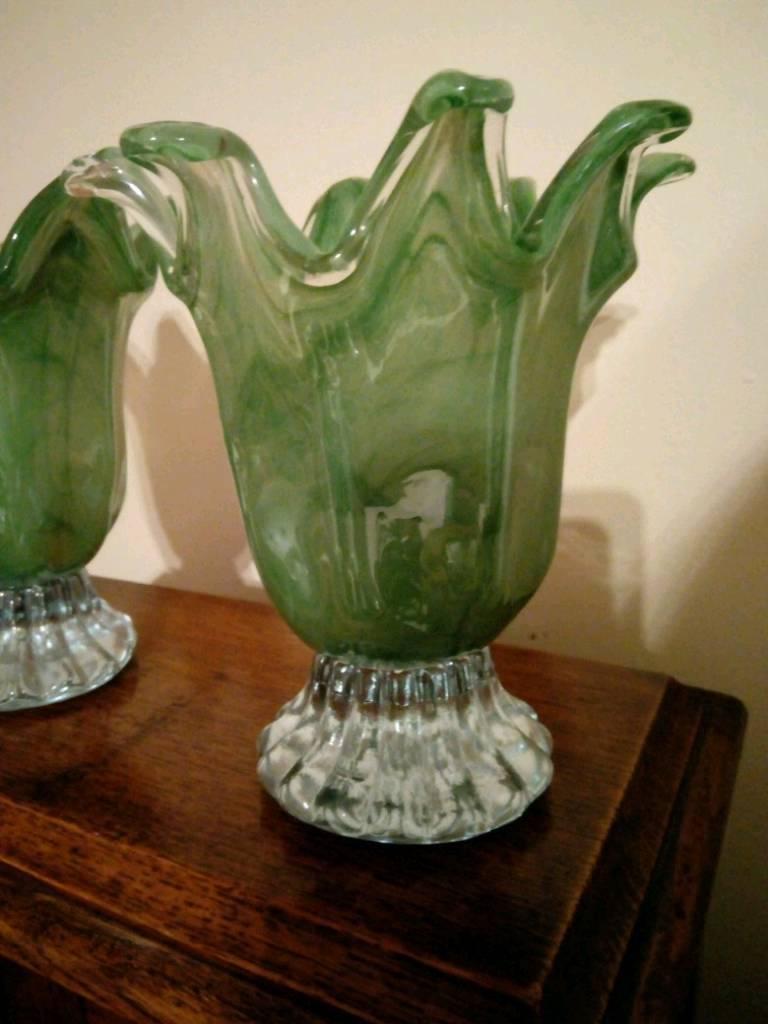 Pair of murano art glass style vases