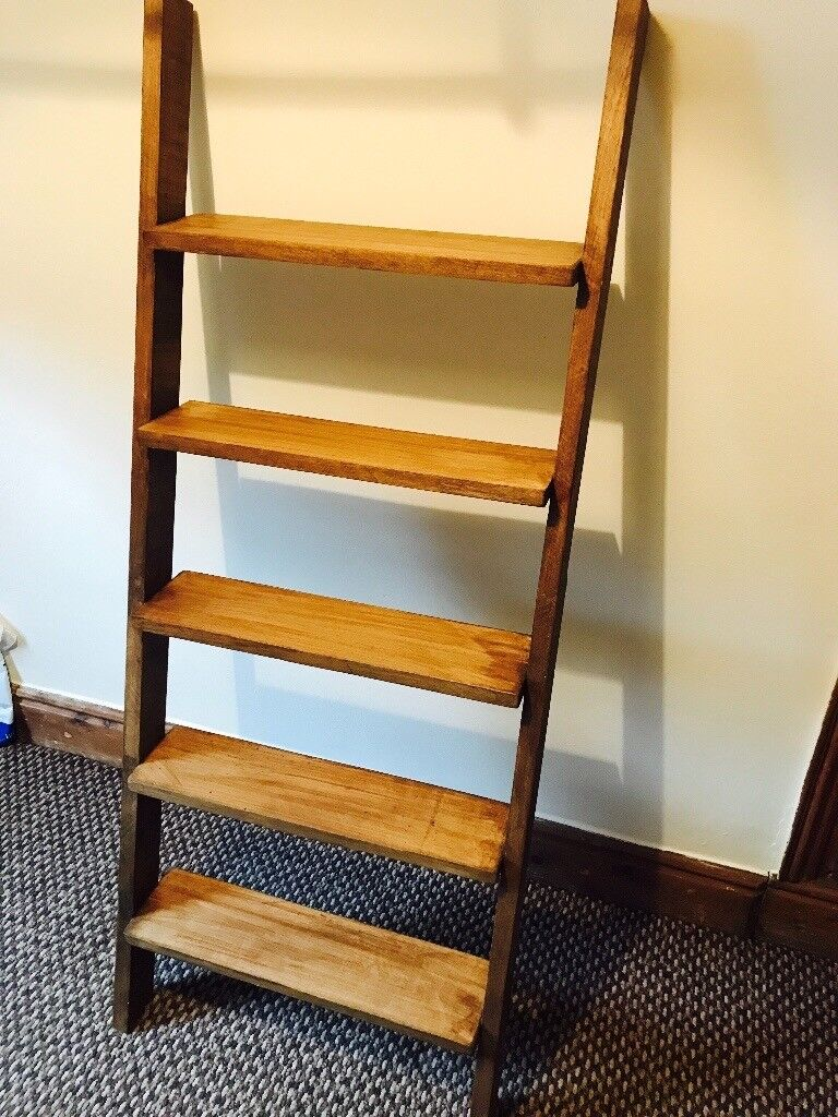 Rustic Wooden Ladder Style Bookcase