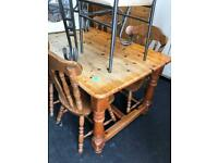 Pine farmhouse table + 4 chairs