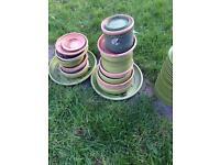 Pile of gardening saucers