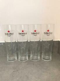 Heineken Beer Pint Glasses x 4 New ideal for Sub Torp Blade Man Cave Home Bar