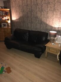 Real leather 3 + 2 seater very good condition
