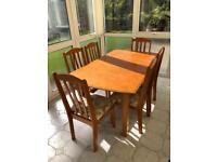 5ft Dining Table with 6 chairs, extendable to 6.5ft with leaflet