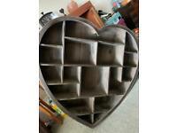 Wooden heart display cabinet