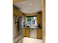 Solid oak small kitchen/utility room units and sink