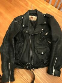 Black Leather Bikers Jacket Size 42 circa 1991