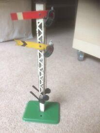 Hornby O gauge clockwork railway train : signal and buffer stops