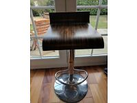 Modern wooden and chrome contemporary bar stool