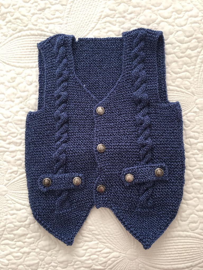 Handmade crotchet baby waistcoat in dark blue