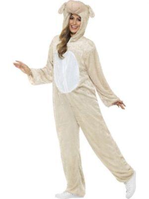 Barnyard Lamb Farm Animal Jumpsuit w Hood Zip-Up Manger Adult Costume MD-LG - Lamb Jumpsuit