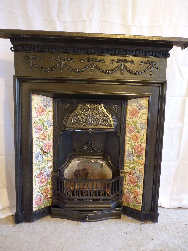 cast iron fireplace victorian style flower u0026 butterfly inset