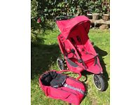 Phil and Teds double buggy with baby carrier and raincover