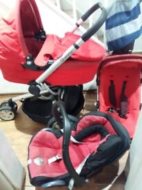 Quinny buzz travel system in red pram, carry cot, car seat