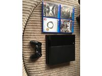 PS4, controller and 4 games