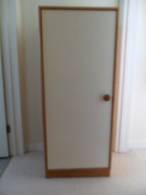 Small, solid wood 1960s/1970s (?) child's wardrobe with white door