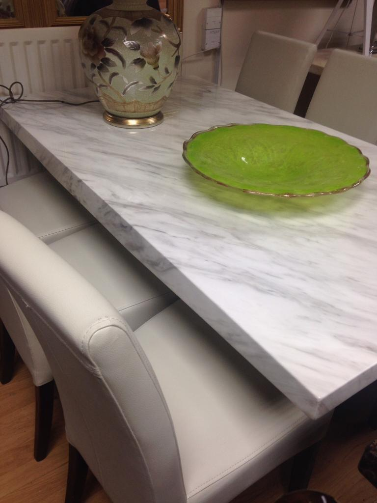 White marble EFFECT dining table and chairs
