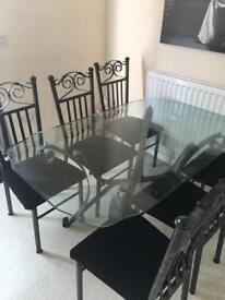 Glass / Metal Dining Table with 6 Chairs