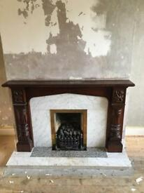 Solid mahogany fire place, gas fire and hearth