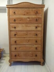 Antique pine tall chest of drawers