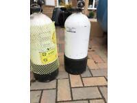 Two 12 litre dumpy dive cylinders