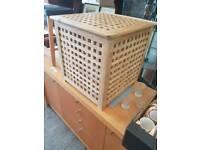 Hardwood laundry basket now available