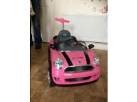 Pink push along mini coopers with horn and car sounds