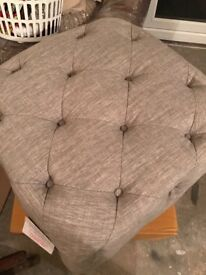 Grey buttoned foot stool new