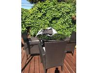 Set of four rattan garden furniture with cream umbrella and cover like NEW just today