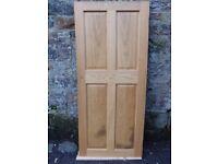 Oak veneer four panel doors x 2