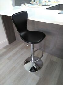 Real leather and chrome gas-assisted bar stools