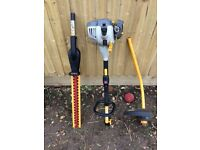 Ryobi petrol hedge trimmer with interchangeable strimmer attachment.