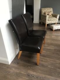 4 Dining Chairs Brown Leather