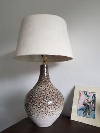 Beige mottled tone ceramic lamp with cream suede shade