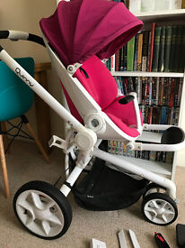 Quinny moodd pram pink with white frame and bits