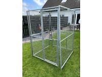 4x4FT Galvanised Dog Pen With Gate And Kennel Entrance