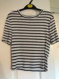 New look striped crop top size 10