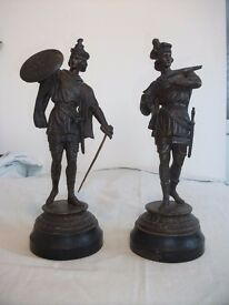 "Antique Spelter Figures (Pair). Approx 16"" High. Good Condition."